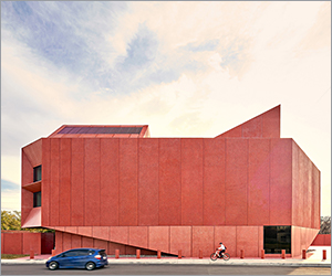 Texas art center glows in 'ruby' red