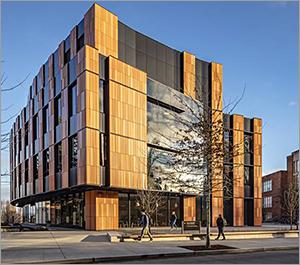 Washington university building juxtaposes metal and terra-cotta panels