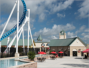 Metal roofs create old-style boardwalk look for Alabama amusement park