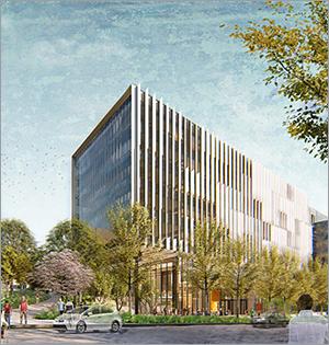 Glass fins create dynamic façade for Washington university building