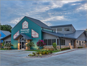 Metal panels create a colorful exterior for Texas animal hospital