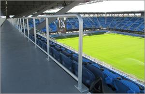 Metal railing system elevates fan experience at California stadium