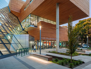 Portland university building creates new identity with glazing, metals, and wood