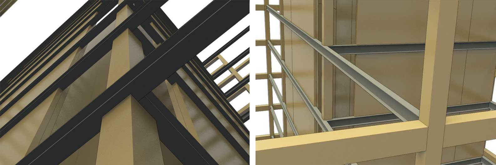 These images show close-up examples of a solid wood panel core and intersecting ductile steel link beams in a wood building standing one to 12 stories.