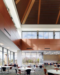 New materials and techniques for fabricating wood panels have made them more affordable for use on large surfaces in projects such as this one by HDR Inc.