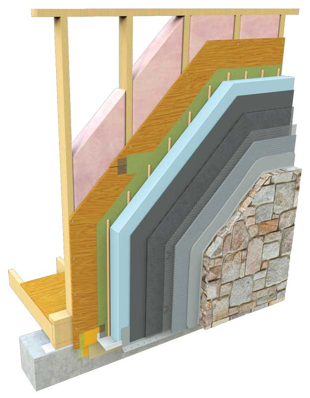 Ensuring moisture protection for manufactured stone page for Rock wall insulation