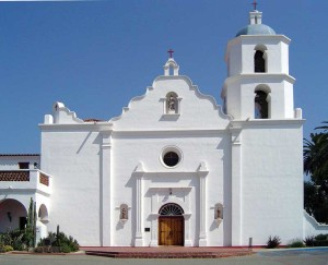 California's Mission San Luis Rey de Francia, founded in the late 18th century, relied on a compound comprising adobe blocks with lime wash, along with structures of adobe and kiln-fired ladrillo bricks and stone. Photograph © Geographer, Wikipedia. Photo licensed under Creative Commons Attribution-1.0. Generic