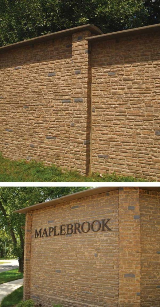 A custom finish on the Maplebrook sound wall project includes a stone ledge imprint with a base color of washed suede and sepia, dark walnut, and charcoal accents.