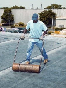 When installing fleece-backed membranes with urethane adhesives, the membrane should be properly rolled to ensure appropriate adhesion.