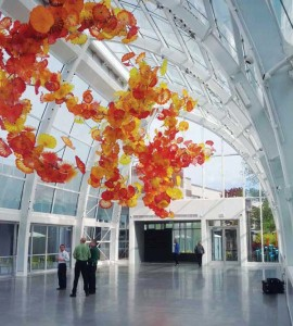 The glasshouse at Seattle's Chihuly Garden and Glass Museum was designed by sculptor Dale Chihuly. Many of his works are featured throughout the interior and exterior of the building. Photos courtesy Jaga Climate Systems