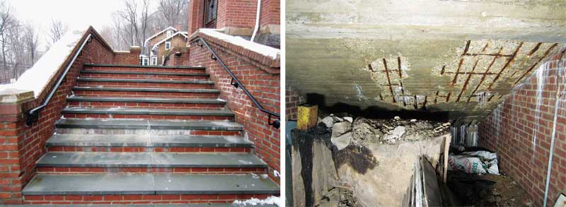 Left: These stone stairs and adjacent brick walls have undergone several repair campaigns, but continue to be damaged by chloride-containing ice-melters. Right: The underside of the concrete support structure reveals evidence of the damage caused by ice-melters, including corrosion of steel reinforcement and spalling of concrete. Photos courtesy Justin Spivey, WJE