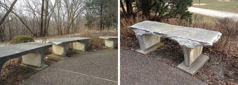 One concrete bench is much more deteriorated than its companions. Environmental conditions are generally similar for all benches, and comparison of existing conditions suggests this one was fabricated differently than the others, with insufficient concrete cover over the reinforcing steel. Photos courtesy Harry J. Hunderman, FAIA, WJE