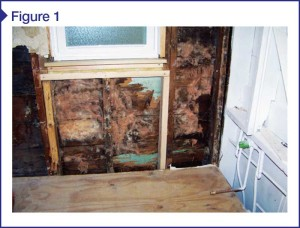 Wall sheathing and framing deterioration occurred due to double vapor barrier trapping moisture within wall cavity. Images courtesy CTLGroup