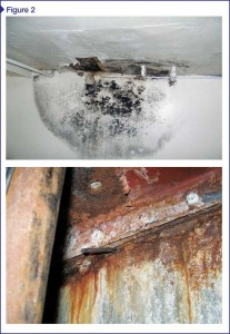 Top: Mold growth within wall cavity at ceiling. Bottom: Extensive corrosion of structural members due to condensation and leakage over extended time.