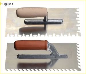 The top trowel has notches, making it particularly suitable for installing large-format thin tile. The flow-ridge trowel below is also ideal for use in these applications.