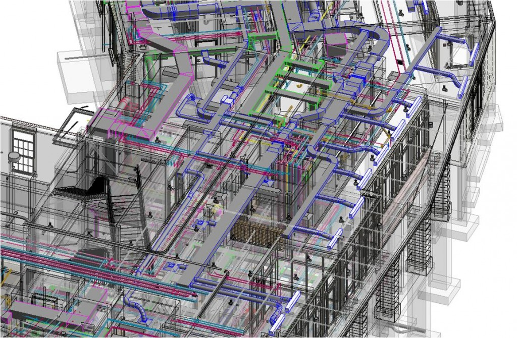 A building information model (BIM) of a residence halls project for Miami University's Western Campus. Image courtesy CR architecture + design
