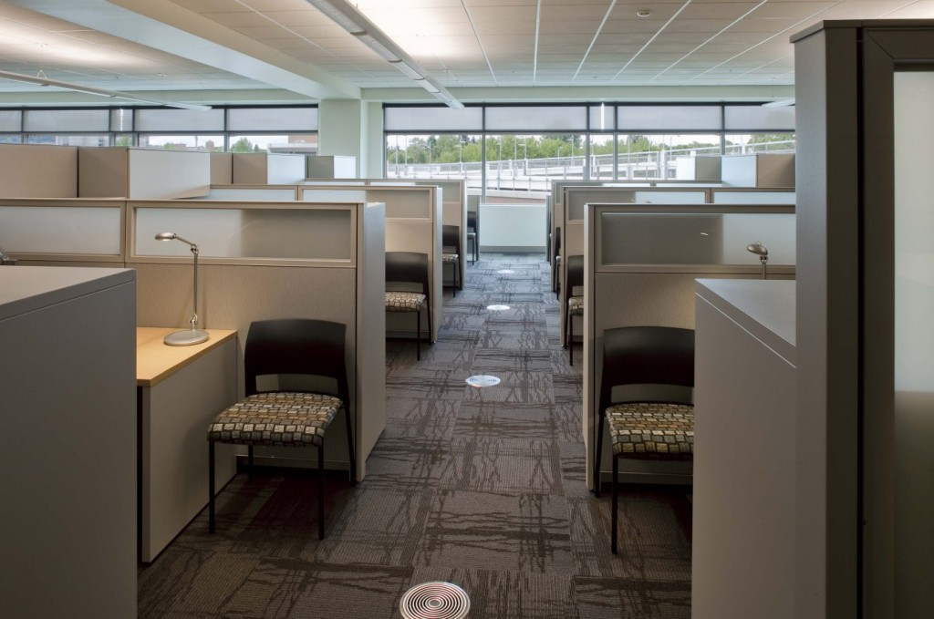 The underfloor air distribution (UFAD) system improves the indoor air quality (IAQ) for employees. Air is delivered directly to the occupied space and during the process, older, warmer air is carried to the ceiling by natural convection and removed through return outlets, keeping it out of the occupied zone.