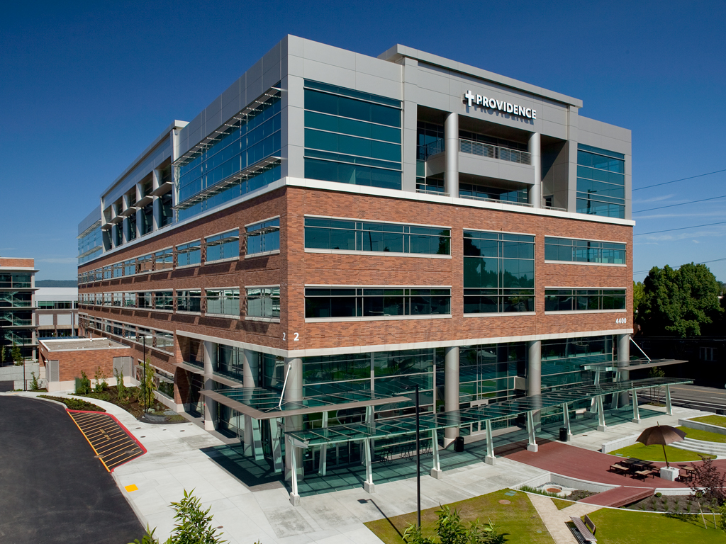 Portland's 21,925-m2 (236,000-sf) Providence Office Park II development includes a raised access floor system in five of its six floors. Photos courtesy Jon R. Jurgens & Associates