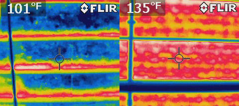 Interior radiation control coatings offer easily understandable advantages when it comes to preventing heat loss. This infrared photo shows two roof sections at a winery in Northern California.