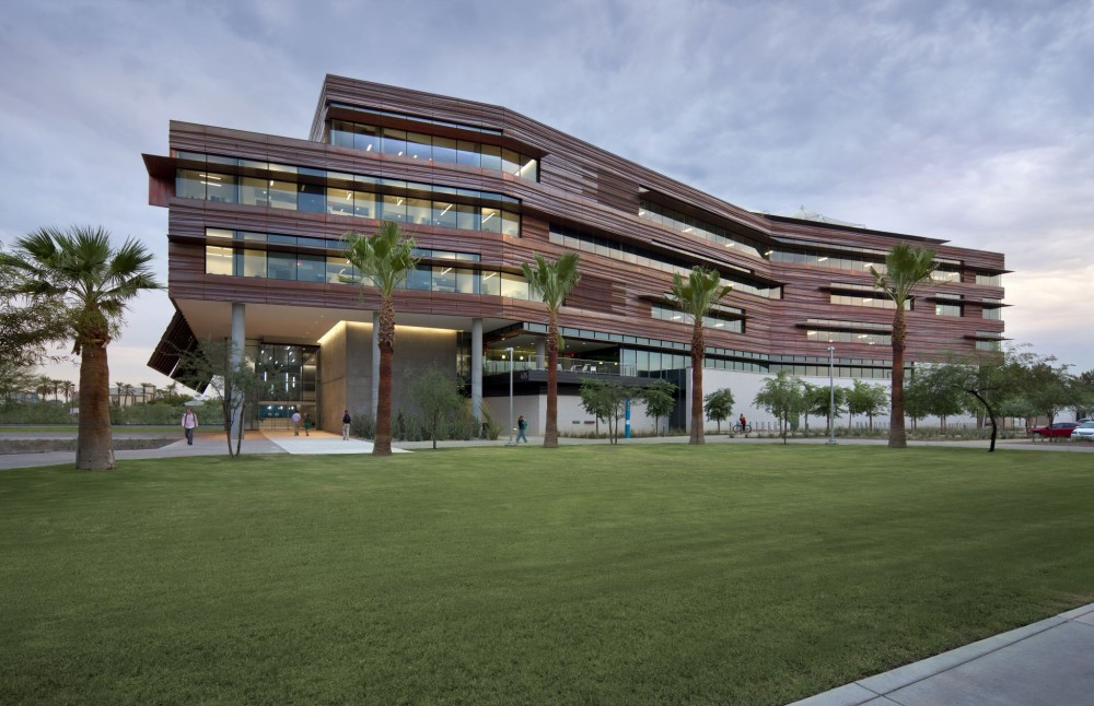 The Health Science Education Building is clad with copper panels.