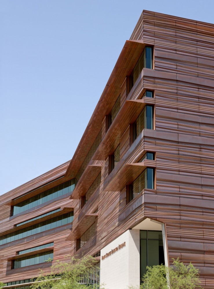 The Health Science Education Building (HSEB) has a complex copper façade exterior that blends nicely into the Arizona landscape.
