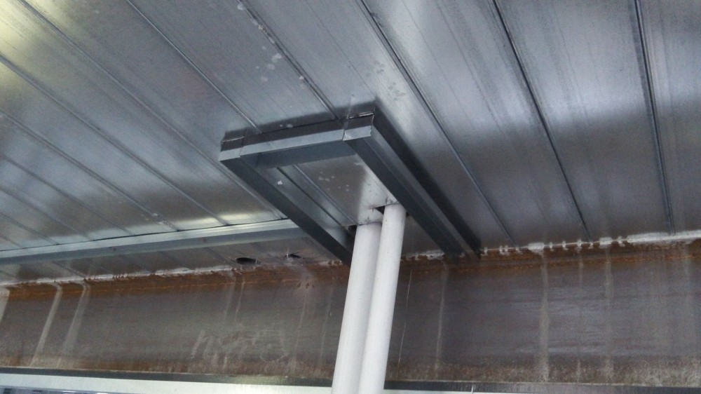 Using a cured factory-metered dosage intumescent material, this profile provides firestopping and sound-dampening effective immediately as framing composite is installed.