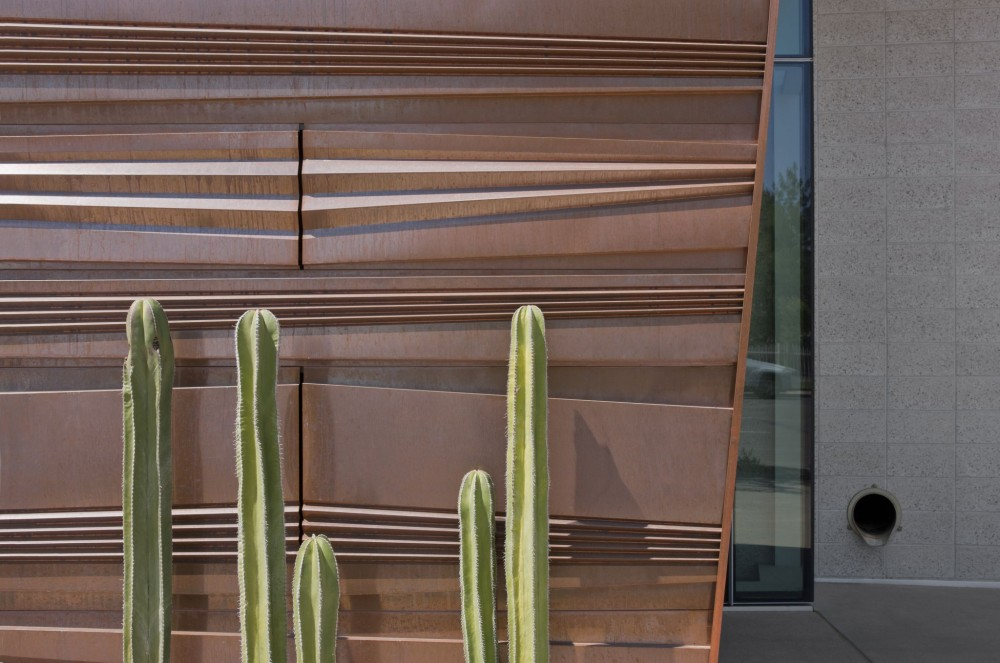 A close up of the complex copper-clad exterior of the Health Science Education Building.