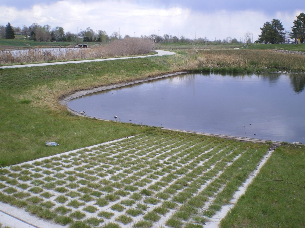 A detention pond where the maintenance access road uses void structured concrete. Photos courtesy Katie McKain