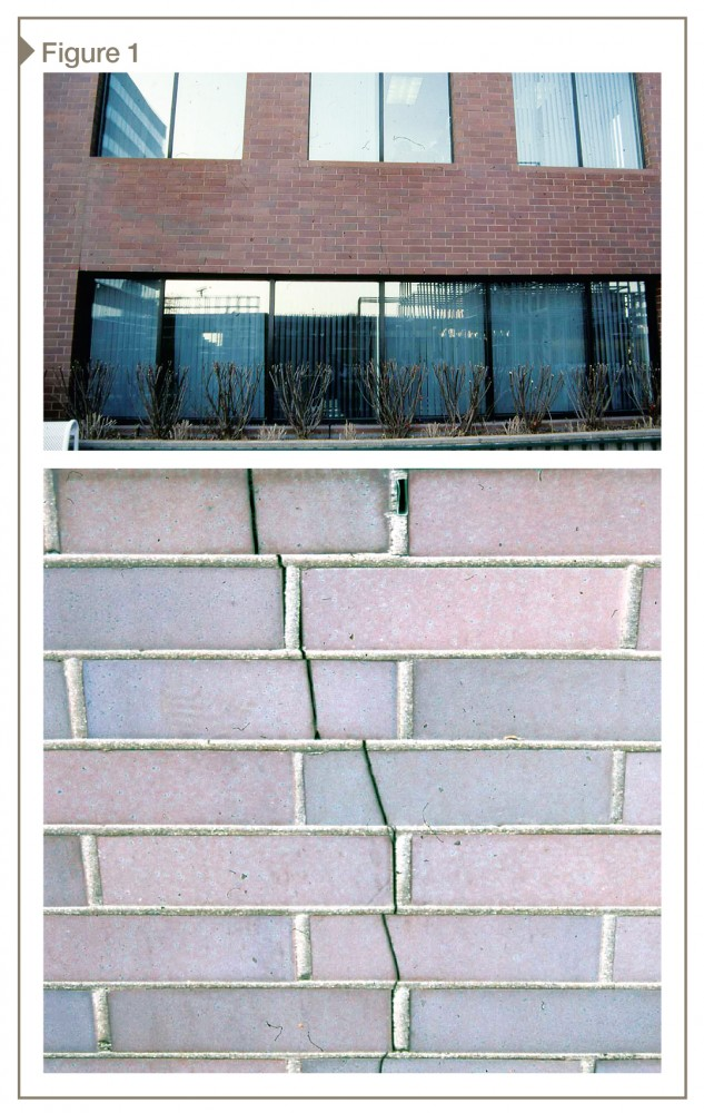 A vertical crack developed in the brick veneer in the middle of this large, first-floor window. It began at the window head shelf angle as a wide, open crack, and disappears into a hairline above.