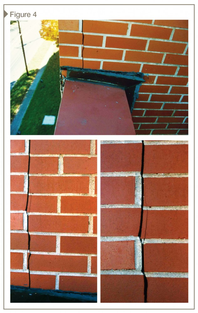 A vertical crack had developed in the brick veneer at this corner's roof side. Vertical displacement of approximately 4.8 mm (3/16 in.) was noted at this crack.