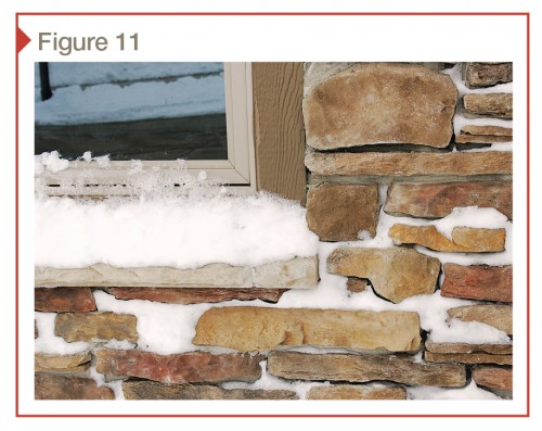 While attractive, this stone has many open areas that trap snow and moisture and allow it to build up and hold. The flat window ledge also traps and holds moisture.