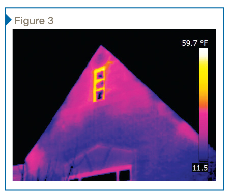 This infrared image of an exterior natatorium wall was taken during the winter in a heating climate. The orange/yellow regions indicate higher apparent surface temperatures and locations of air barrier breaches.