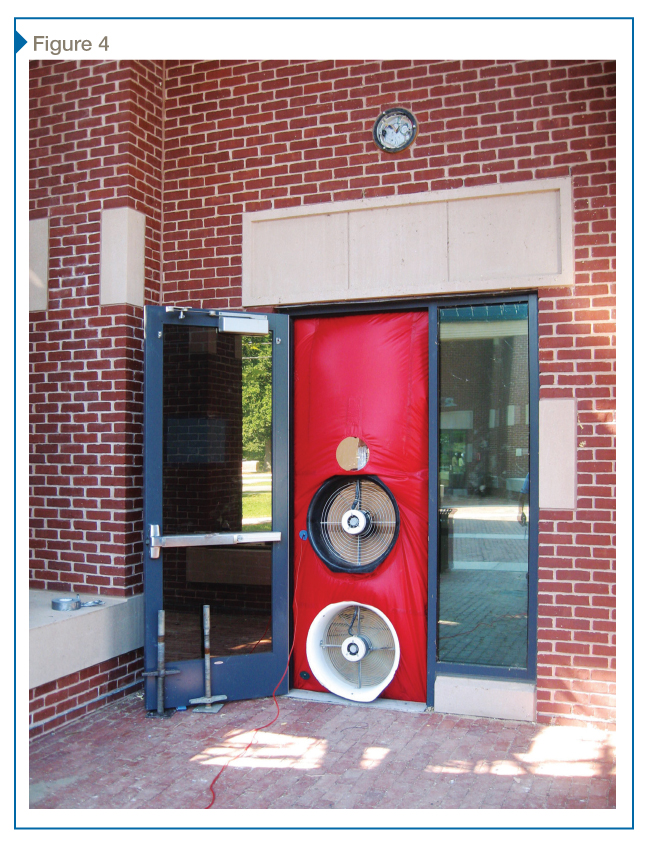 The photo illustrates the blower door test setup for quantitative air leakage testing with calibrated fans. These blower doors are also used for imposing pressure differential for qualitative testing.