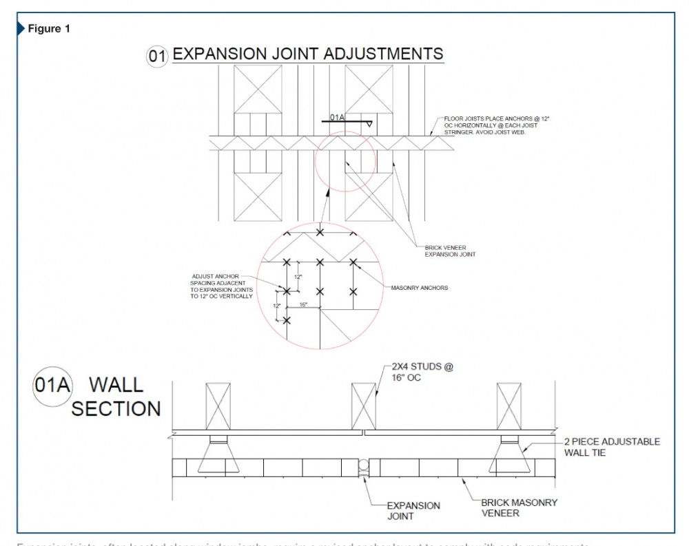 Expansion joints, often located along window jambs, require a revised anchor layout to comply with code requirements.