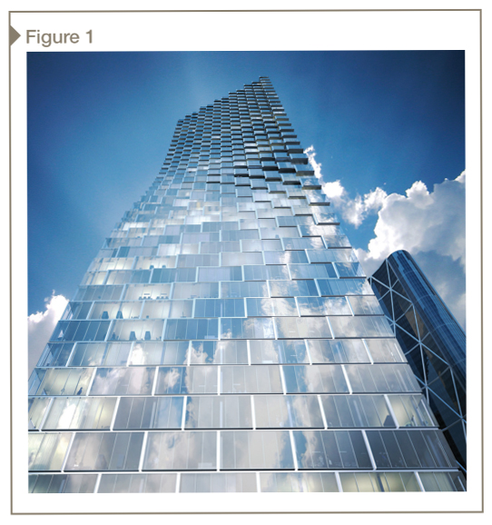 Integrated use of high-performance insulation in the curtain wall spandrel, in Calgary, Alberta, enables high window-to-wall-ratio designs that meet energy codes. [CREDIT] Photo courtesy BIG