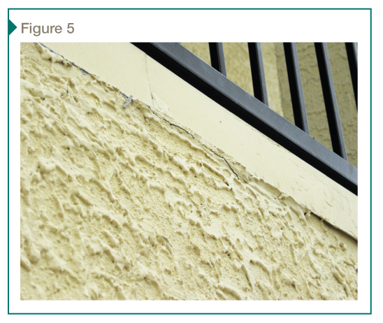In the survey, wood rot was common at drip edges. Here, the drip edge is not visible below the T-bar, so water is being directed behind the stucco.