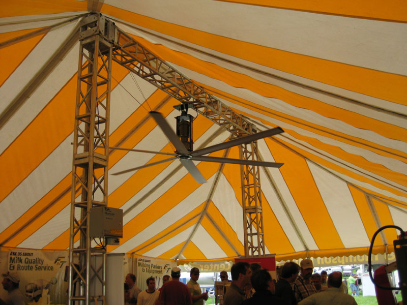 This fan was installed to a steel truss during an outdoor trade show.  [CREDIT] Photo courtesy MacroAir
