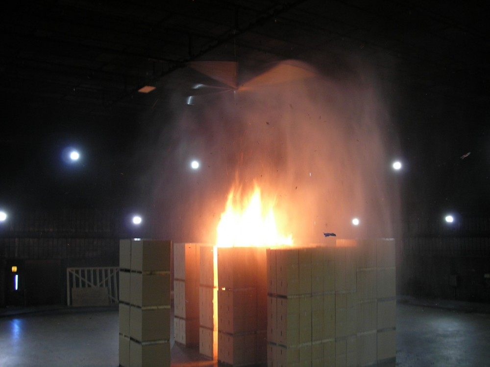 During the second phase of testing, a total of 10 full-scale fire tests were conducted between June and December 2010, evaluating the effect of the HVLS fans on the performance of both early-suppression, fast-response (ESFR) and control-mode-density-area (CMDA) sprinklers protecting both rack storage and palletized commodities.