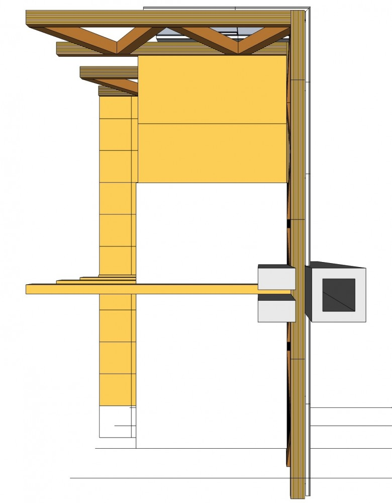 A typical column connection for wood truss and beam.