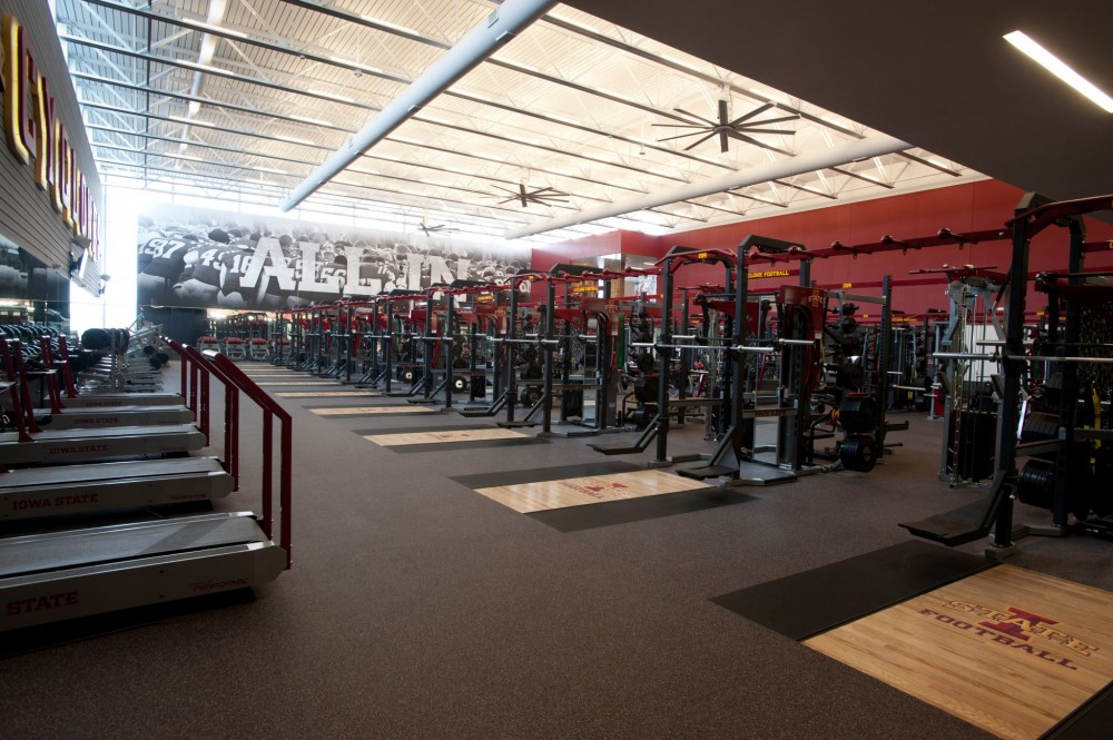 Consisting of 100 percent post-consumer recycled tire rubber, the 25-mm (1-in.) thick flooring at Iowa State University's facility provides superior performance and durability for the weight room.