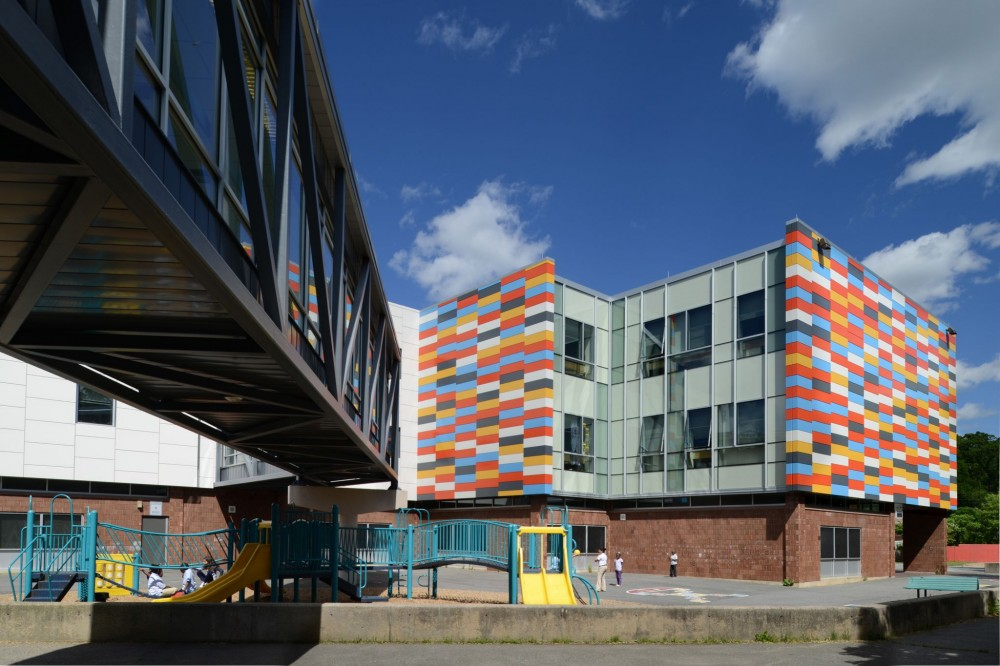 Boston's Mattahunt Elementary School features painted aluminum panels to create a distinctive, playful look for students. Photo © Mark Kempf, St. Louis. Photo courtesy Dri-Design