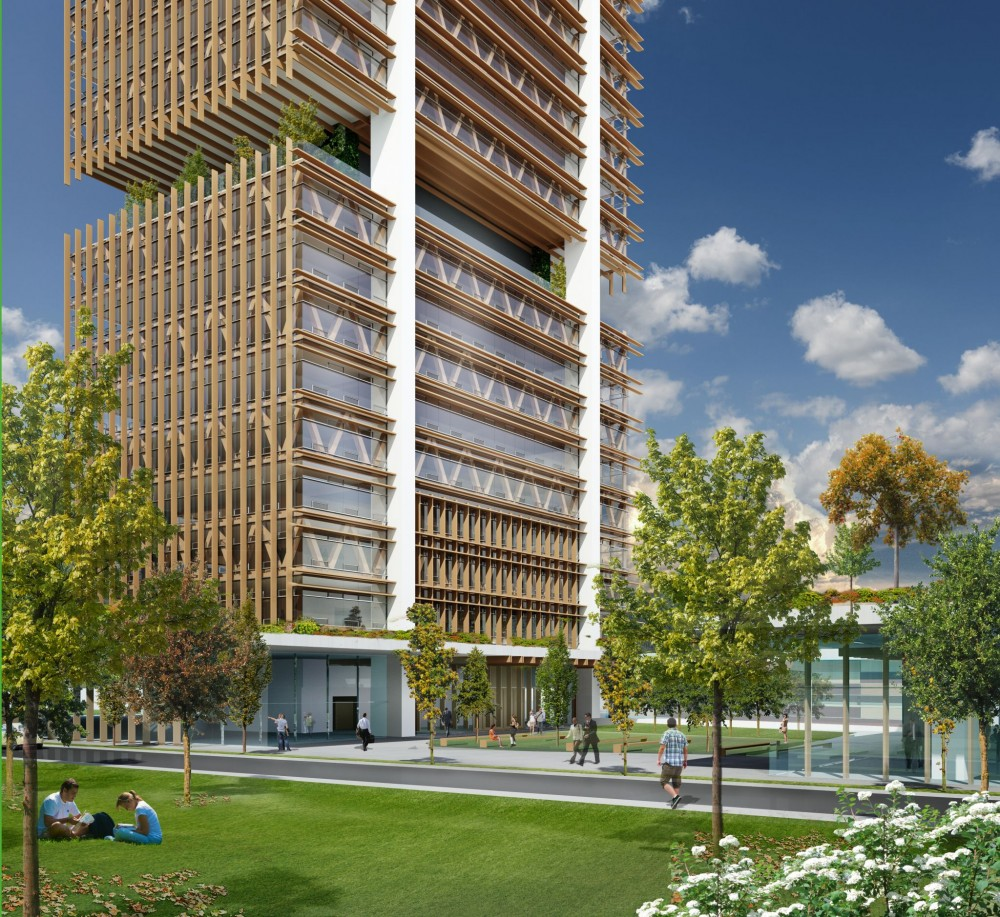 CEI Architecture's proposed 40-story office tower takes advantage of the wood's tension capacity and the compression capacity of concrete.