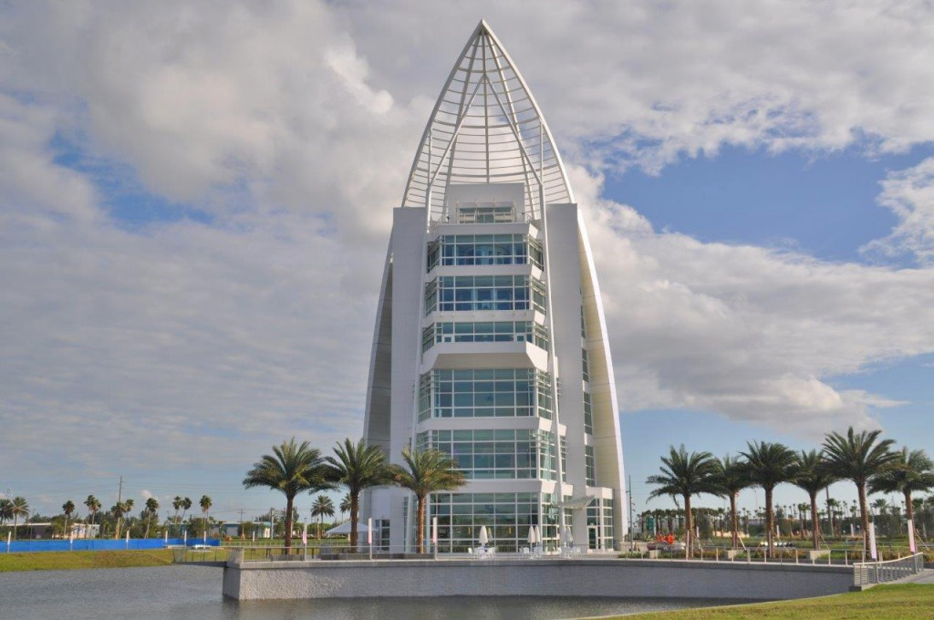 Exploration Tower's northern elevation features a hurricane-rated, aluminum-framed curtain wall.