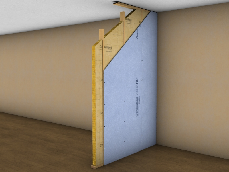 The High Acoustic Performance Of Laminated Noise Reducing Gypsum Boards Enables Walls To Be Built
