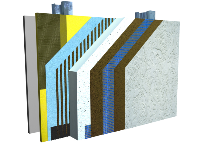 Typical components of an exterior insulation and finish system (EIFS) system.