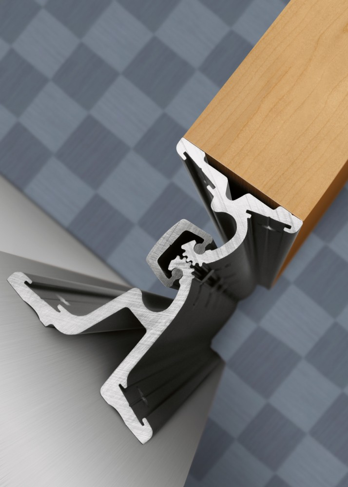 Double-swing hinges enable doors to open wide in either direction.