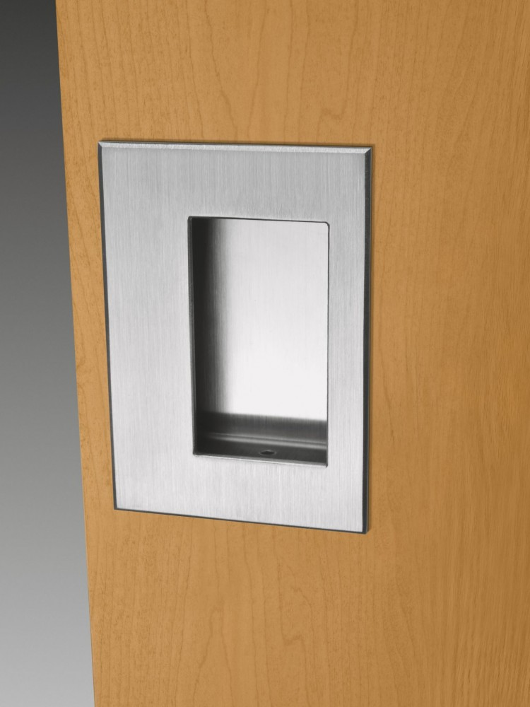 Recessed flush pulls are flush-mounted and designed without pinch points.