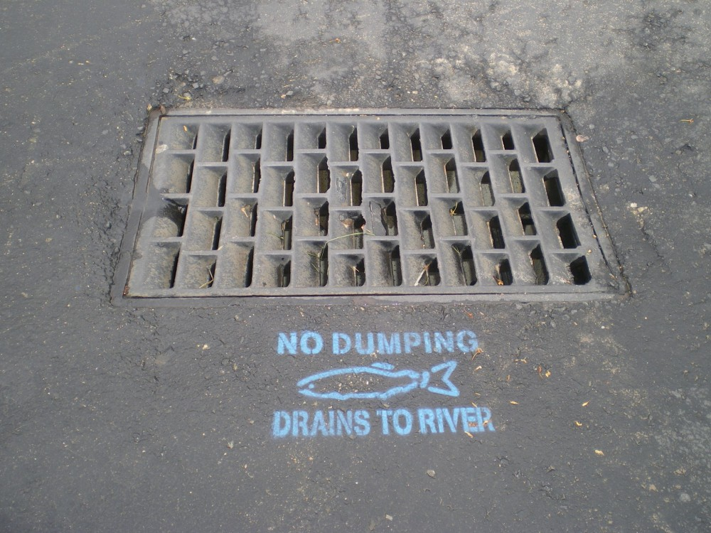 Sometimes people need to be reminded not to dump chemicals in the storm drains.