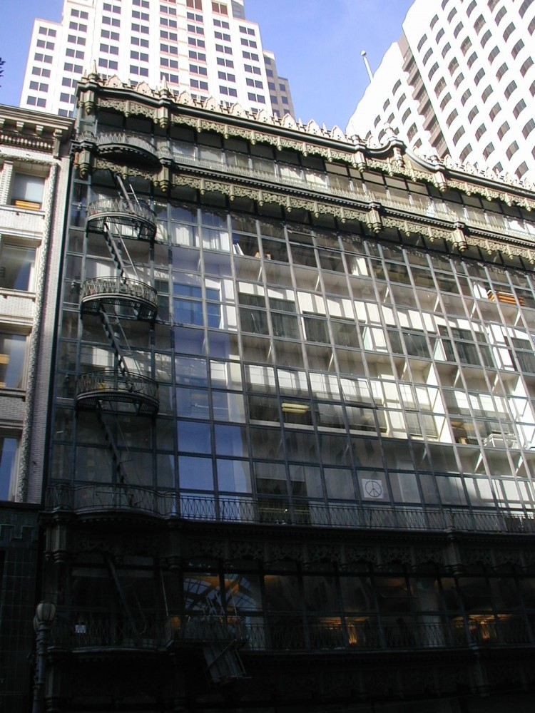 This is the Hallidie Building before its architectural façade restoration.
