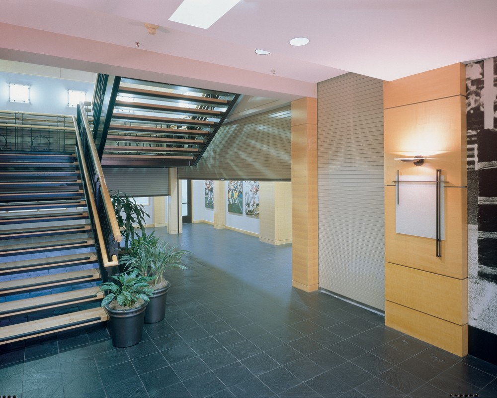 Typically stored above the ceiling, rolling steel doors can be automatically lowered to provide access control and compartmentalization throughout the building's interior.